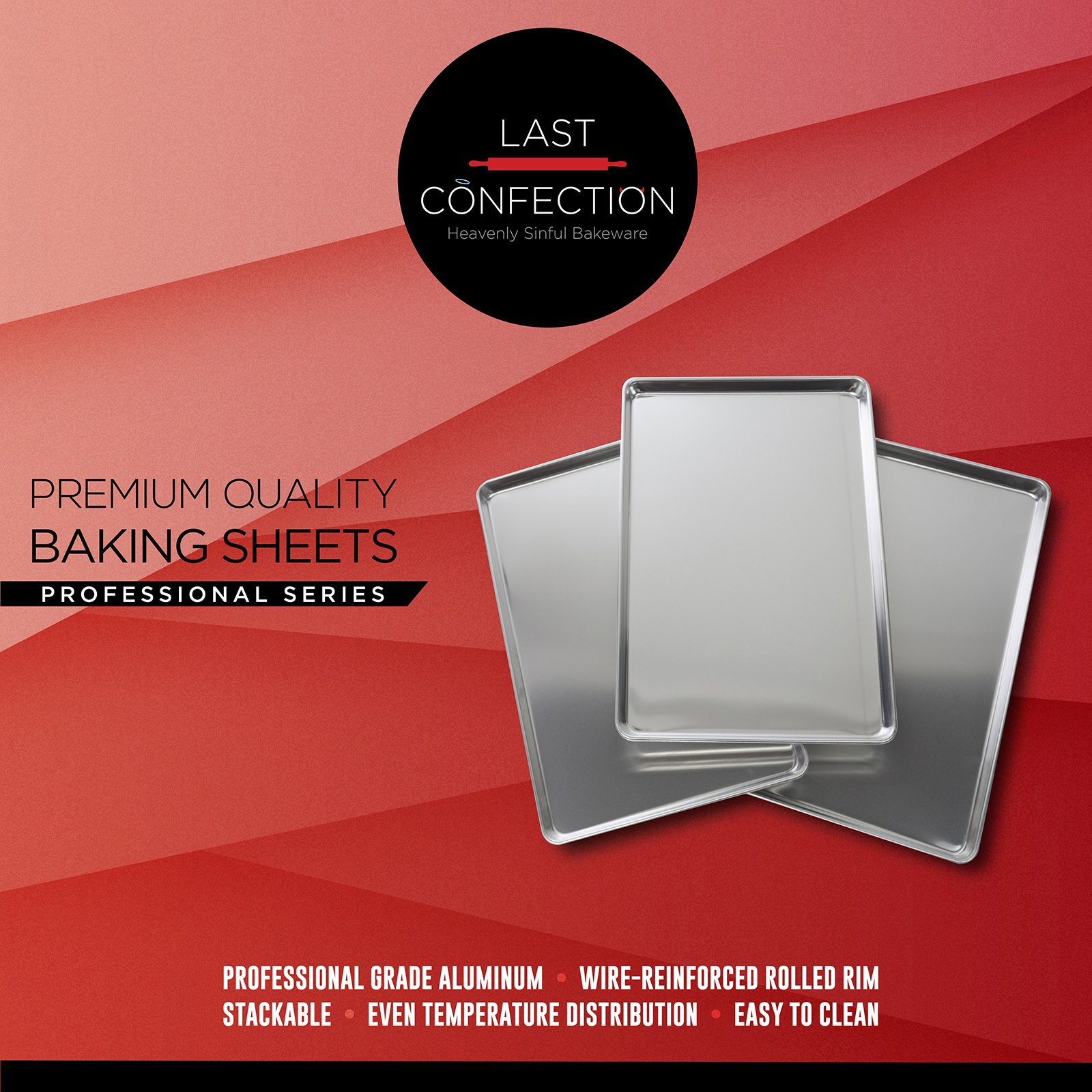 Last Confection 6 Cookie Baking Sheets 13'' x 18'' - Rimmed Aluminum Jelly Roll Trays - Half Sheet Pans by Last Confection (Image #7)