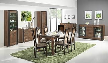 Naomi1 Modernes Esszimmer Möbel Set In Walnuss Und Wenge Holz Effekt Farbe  Ausziehbaren Tisch Stühle Schrank