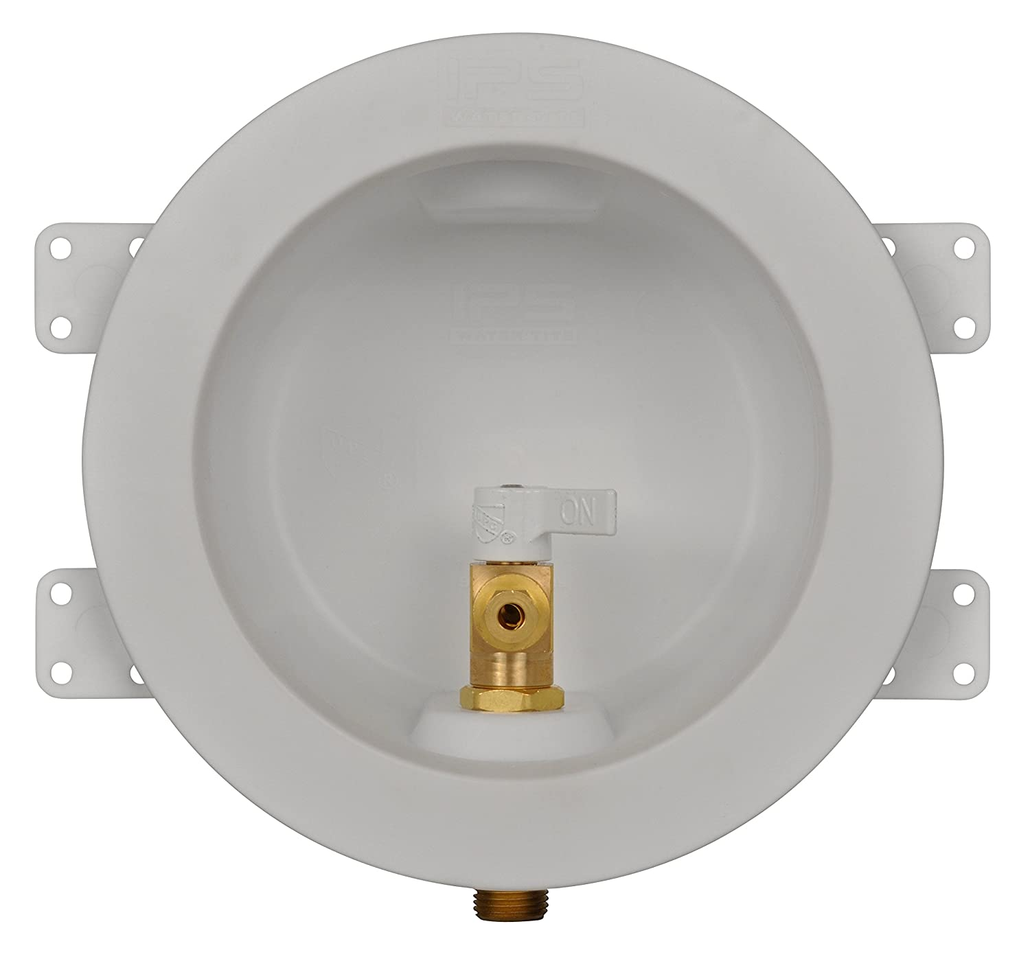 1//2 PEX Connection White Water-Tite 87980 Plastic Lead-Free Ice Maker Outlet Box with Brass Quarter-Turn Arrester Valve Installed