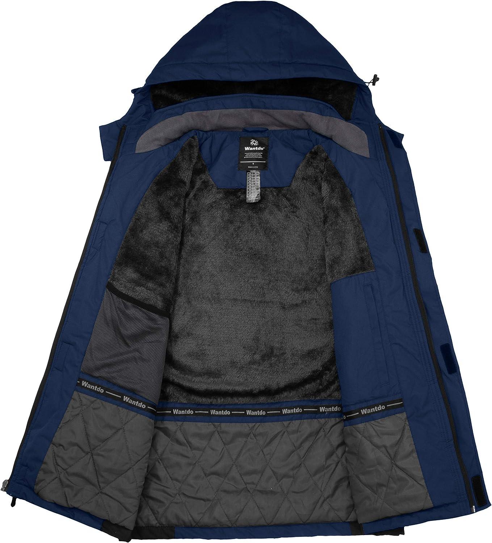 Wantdo Herren Berg Ski Jacke Warmer Winter Fleece Mantel Wasserdichter Atmungsaktive Jacke Outdoor Kapuzen Windbreaker Jacken