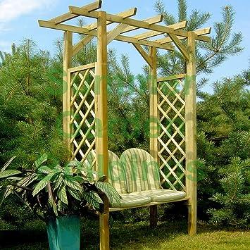 De madera Garden Arbour banco asiento - madera tratada a presión, Pergola, entrega rápida: Amazon.es: Jardín