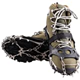 18 Teeth Claws Crampons Non-slip Shoes Cover Stainless Steel Chain Outdoor Ski Ice Snow Hiking Climbing Black