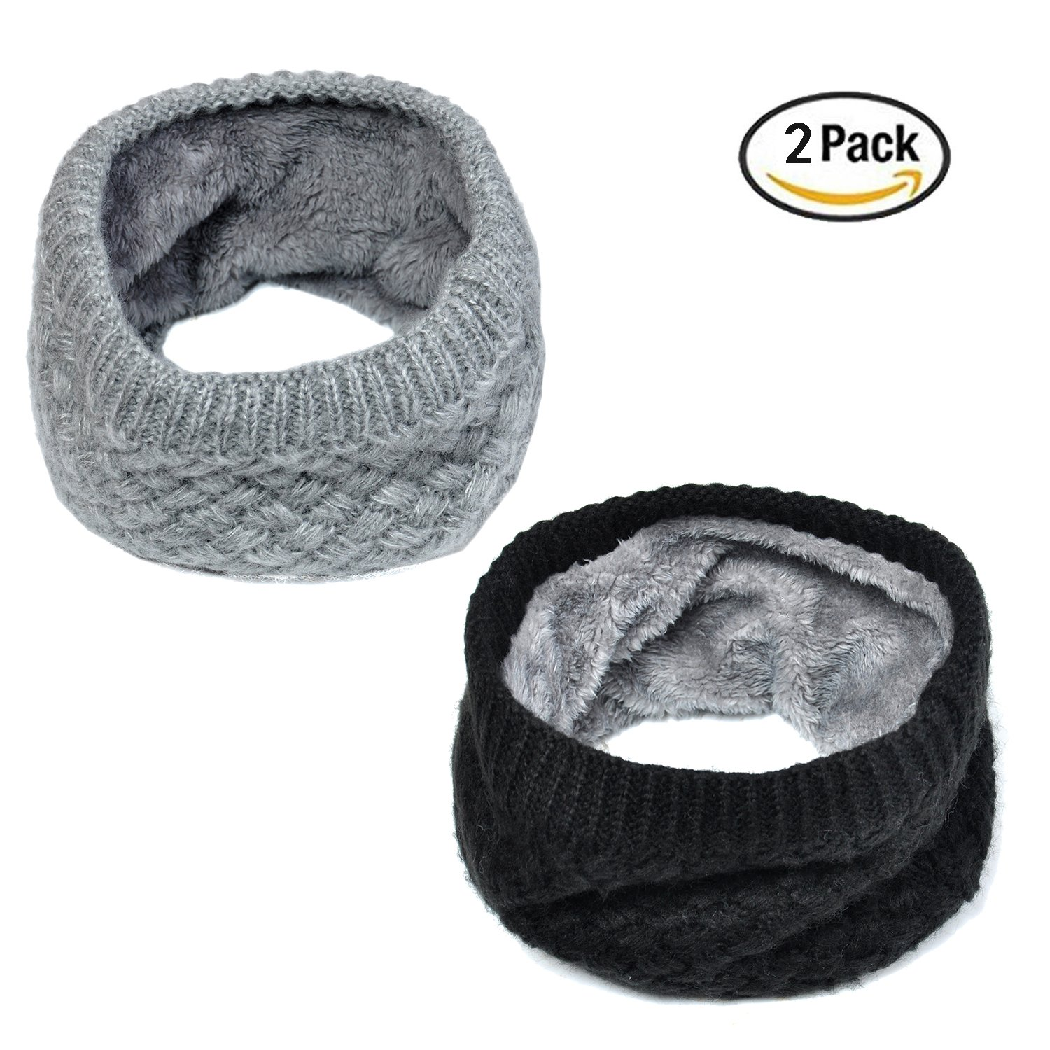 Lo Shokim Harsh Winter Double-Layer Soft Fleece Lined Thick Knit Neck Warmer Circle Scarf Windproof , 2 Pack Black & Grey