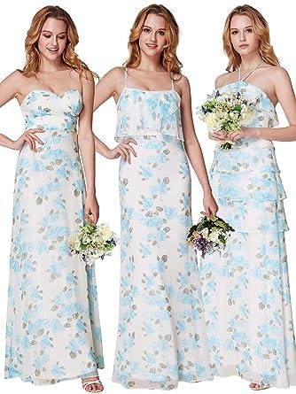 6964817c238a0 Ever-Pretty Women Floor Length Spaghetti Strap Sleeveless Summer Chiffon  Flower Print Evening Dress 4US