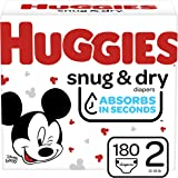 Diapers Size 2 - Huggies Snug & Dry Disposable Baby Diapers, 180ct, One Month Supply