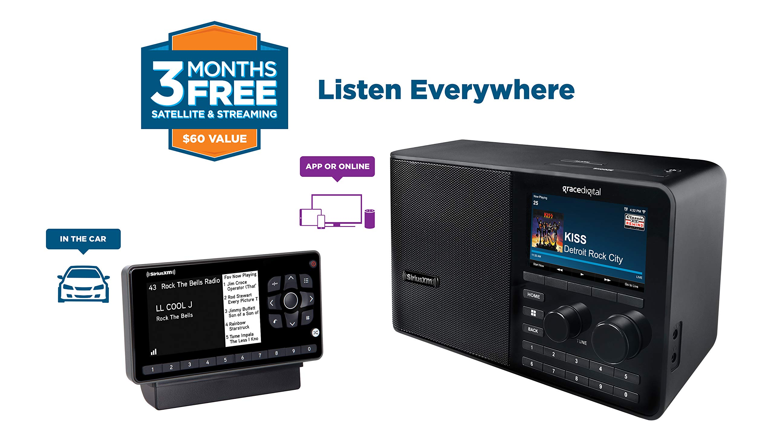 SiriusXM All Access Bundle Includes Onyx EZR Vehicle Dock and Play (SXEZR1V1) and SiriusXM Wi-Fi Table Radio (GDISXTTR2) by SiriusXM