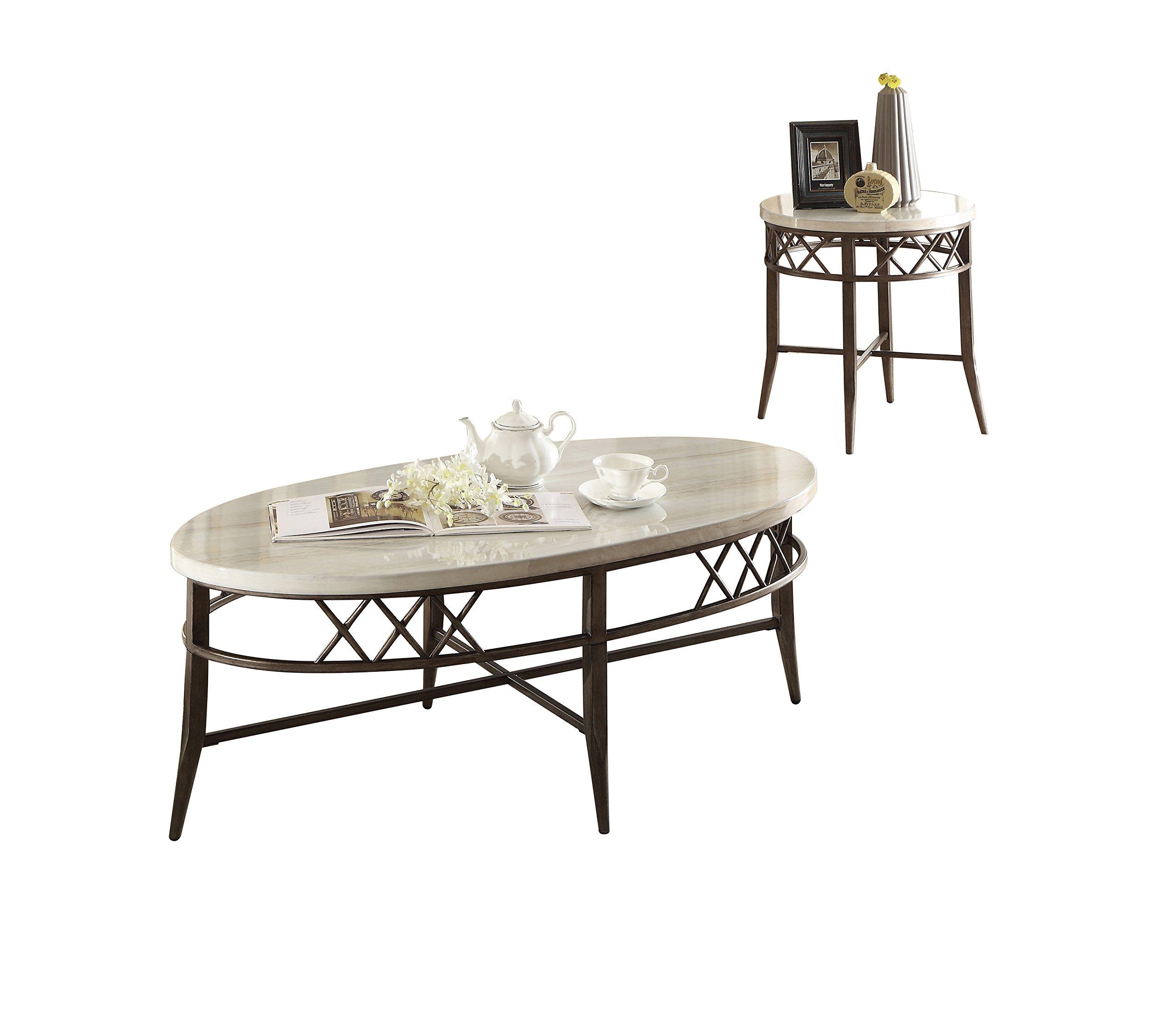 ACME Furniture 83100 Aldric 3 Piece Coffee End Set, Faux Marble