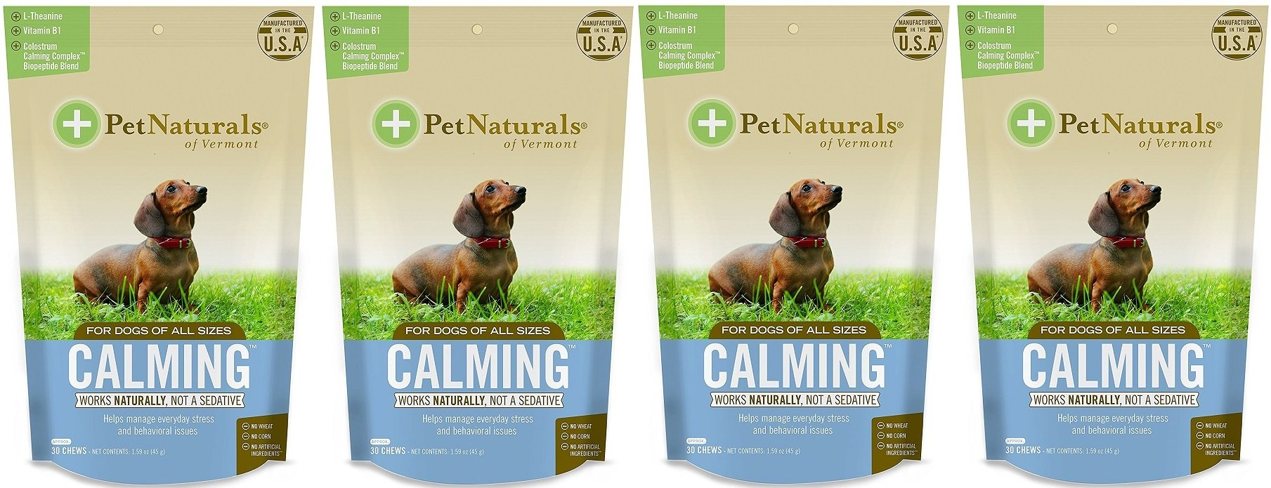 Pet Naturals Calming for Dogs, Natural Behavior Support Formula, 30 Bite Sized Chews bundled with Reusable Travel Pill Pouch, , 4 Pack