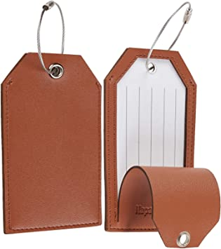 Cool Vintage Airplane Travel Luggage Tags With Full Privacy Cover Leather Case And Stainless Steel Loop