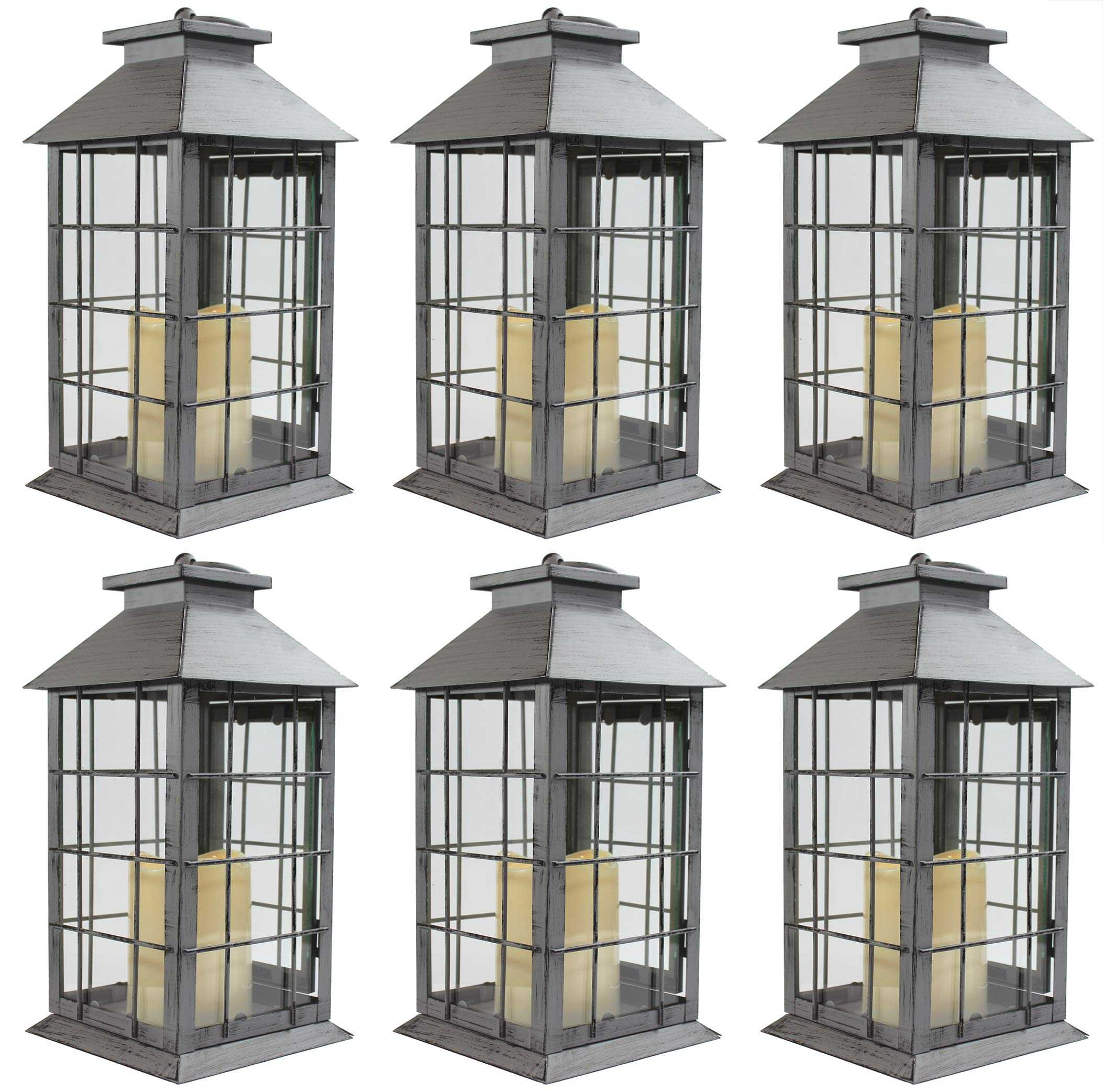 Seraphic Country Style Gray Rustic Metal Lantern with Flickering Flameless LED Candle, Case of 6