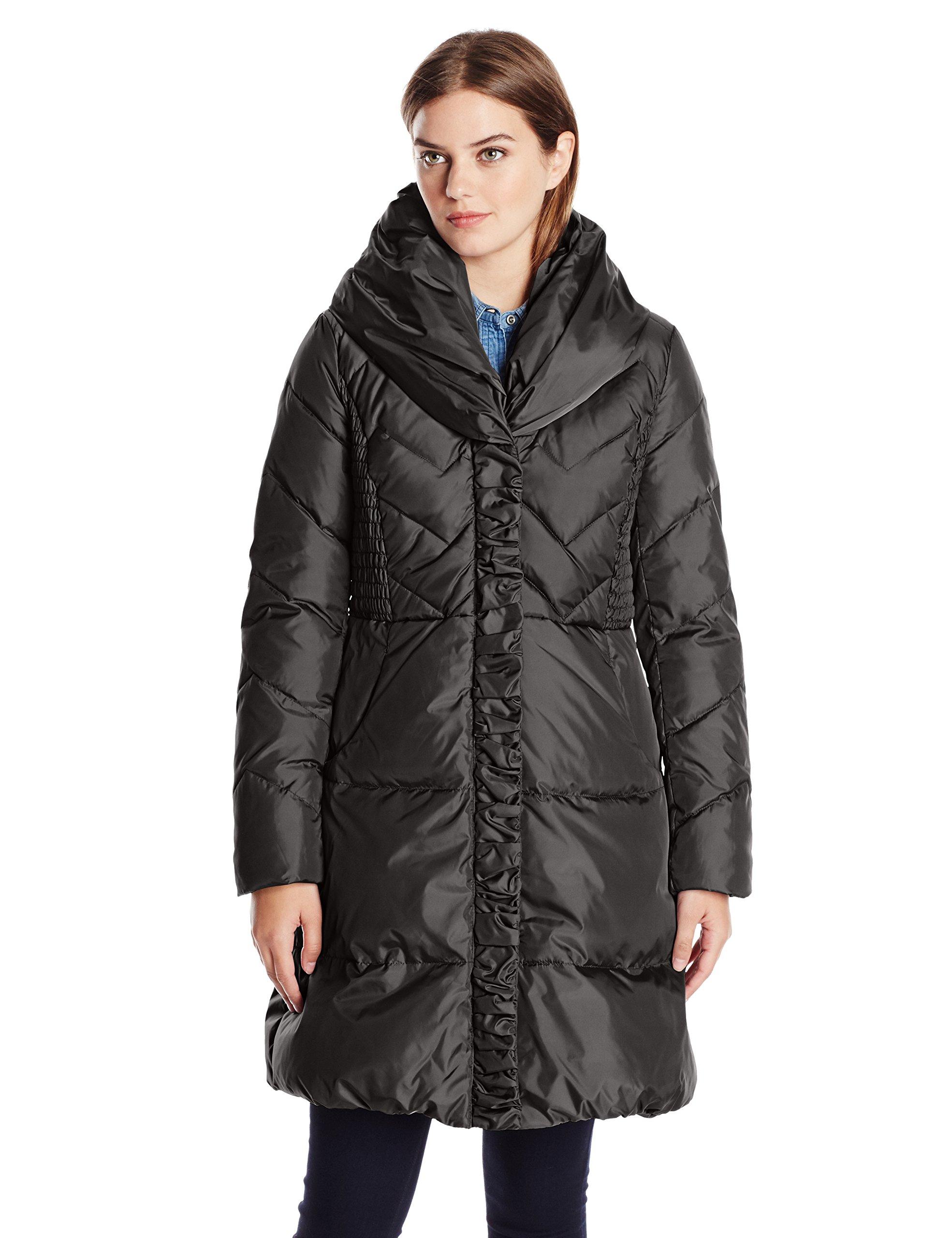 Via Spiga Women's Pillow Collar Down Coat, Black, Small