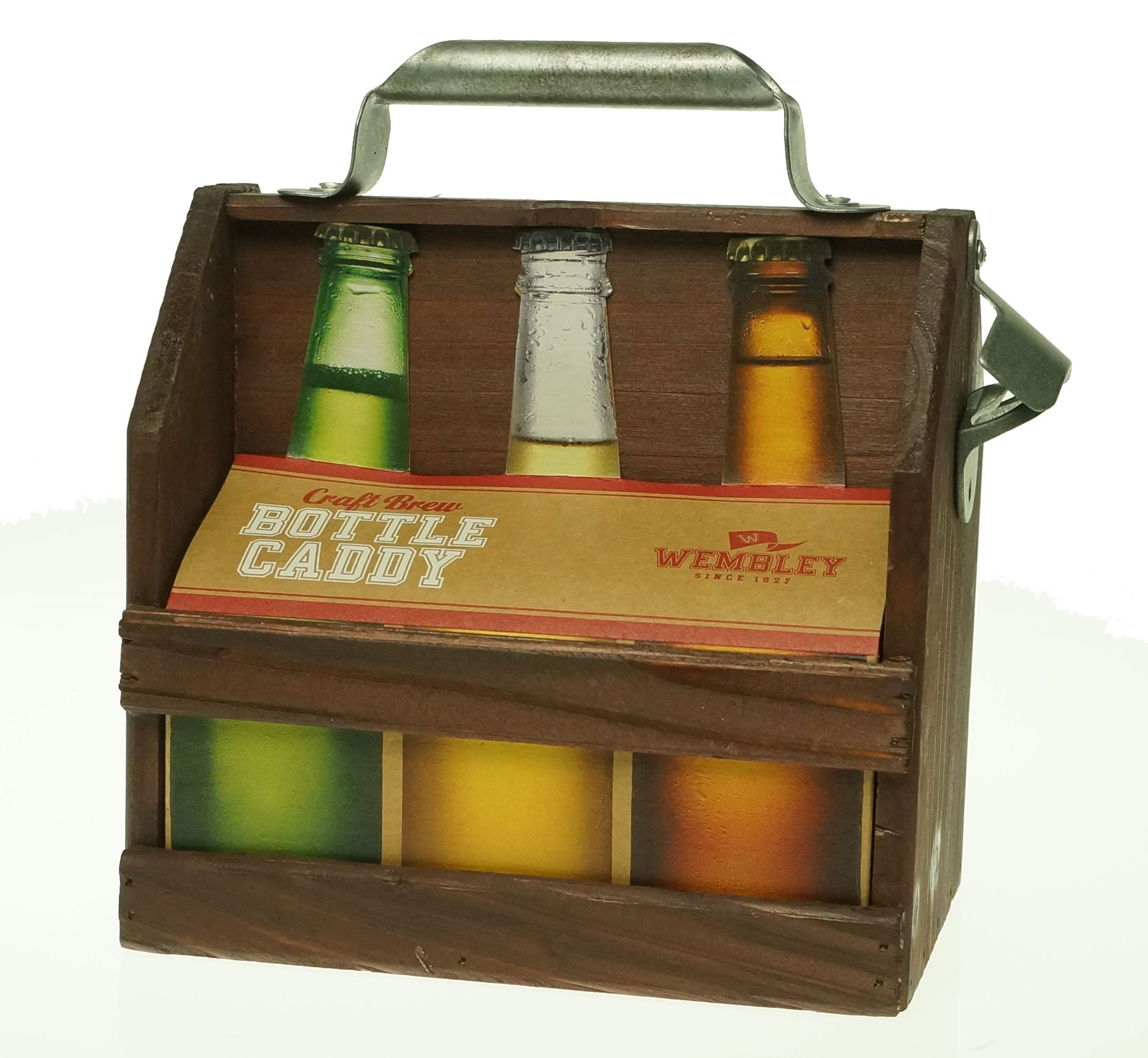 Wooden Six-Pack Beer Holder with Bottle Opener