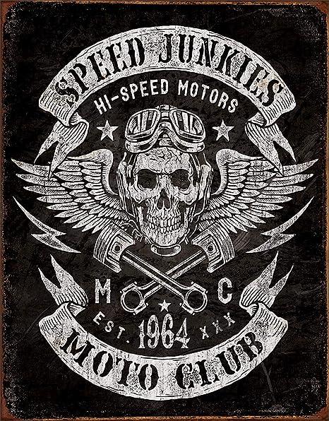 Carlena Cartel de Metal Speed Junkies de 8 x 12 Pulgadas ...