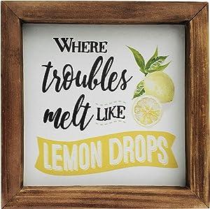 "NITYNP Where Trouble Melt Like Lemon Drops Wooden Framed Block Lemon Saying Sign Home Decor 6""x6"""