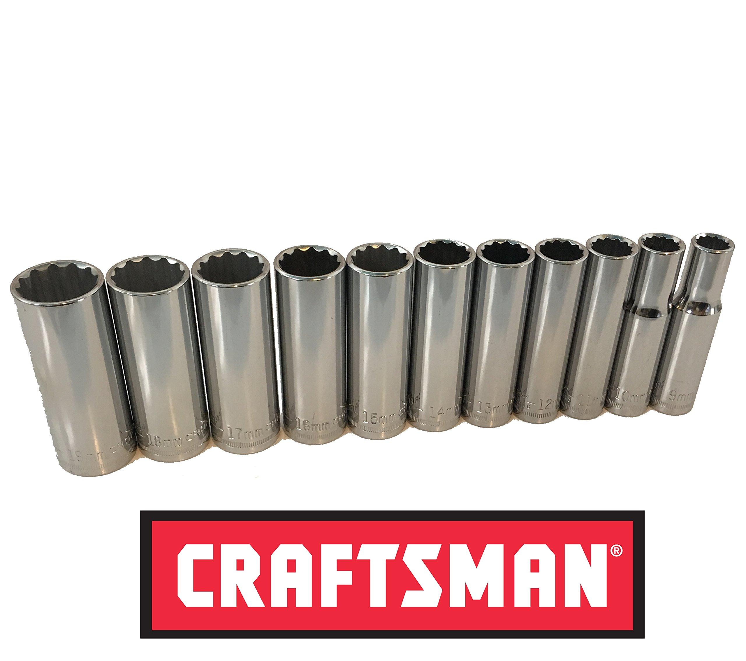 Craftsman 3/8'' Drive 11 Piece 12 Pt Point Metric MM Deep Socket Set