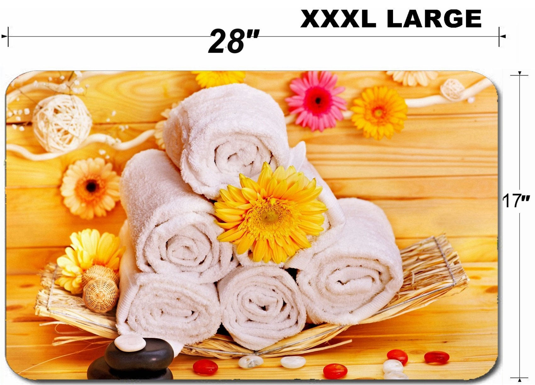 Liili Large Table Mat Non-Slip Natural Rubber Desk Pads IMAGE ID: 16103644 Spa still life with towel and stone in wood spa