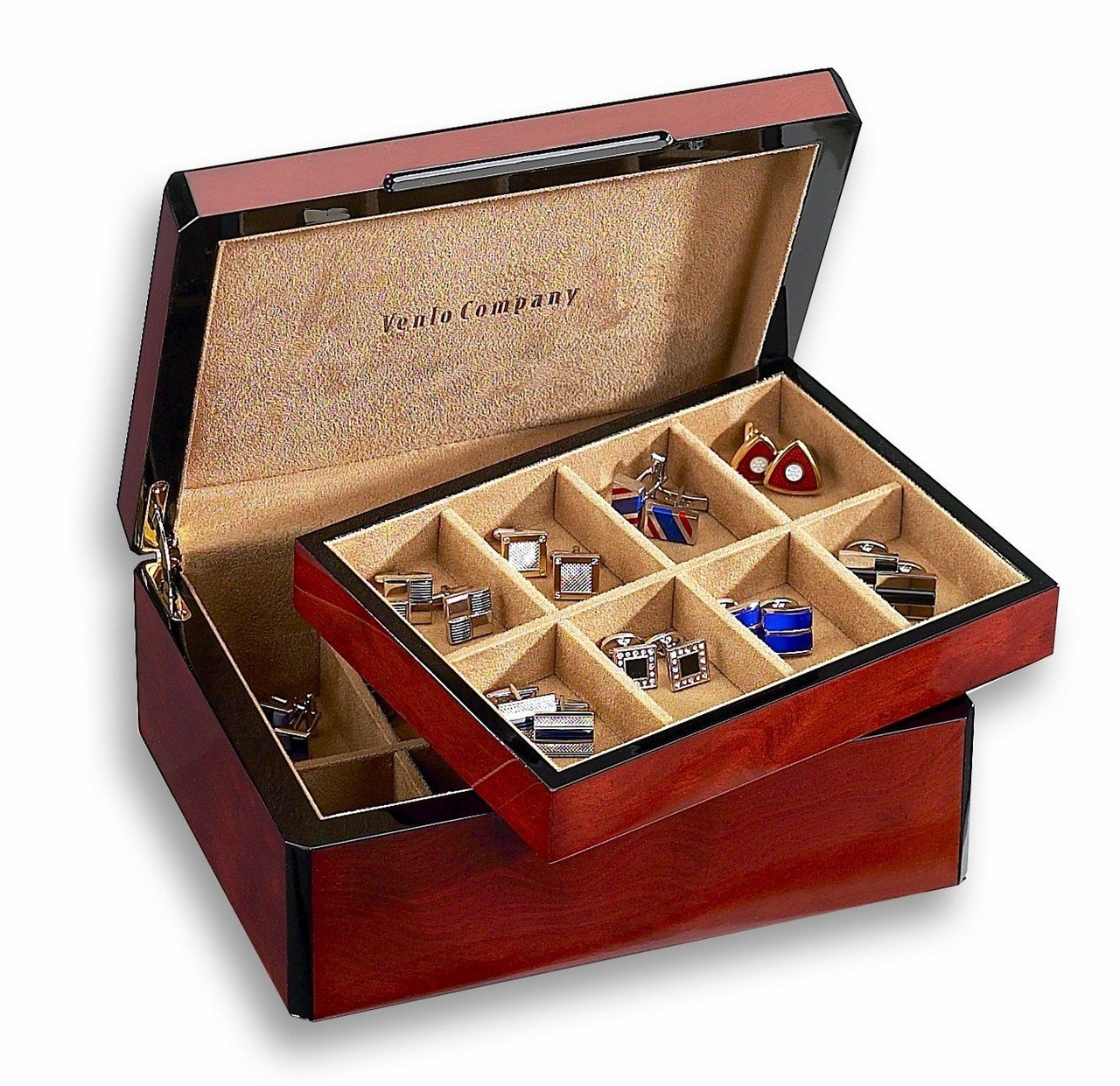 Venlo Triple Burlwood Sixteen Holder Cufflink Case