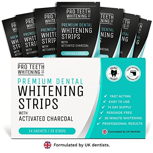 Premium Dental Teeth Whitening Strips with Activated Charcoal | Peroxide-Free Tooth Whitening | Fast Acting Teeth Stain Removal | Professional Results in 3 Easy Steps | 30 Minutes to a Whiter Brighter Smile | Formulated by UK Dentists by Pro Teeth Whitening Co.®
