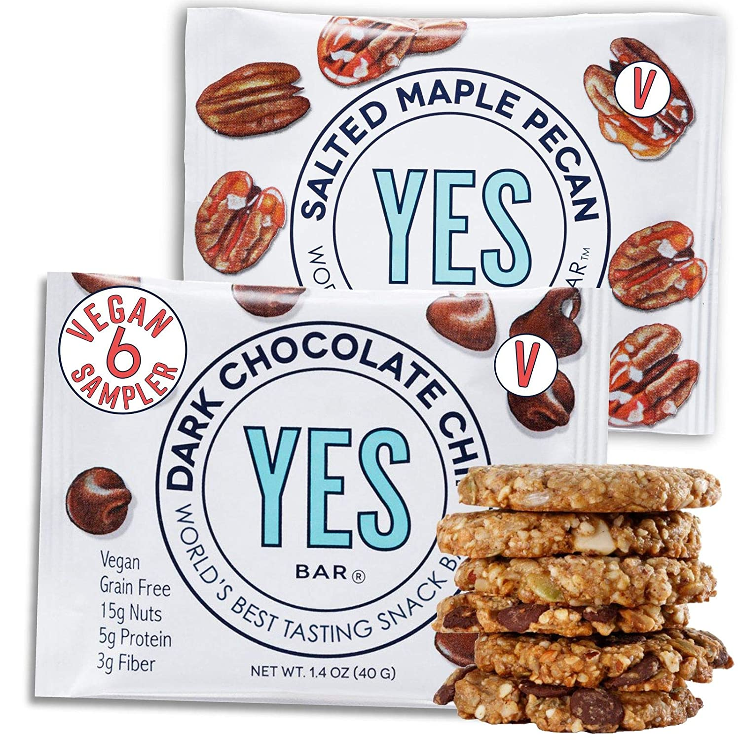 The YES Bar Plant Based Protein Decadent Snack bar,Vegan Variety Pack, 6 Count