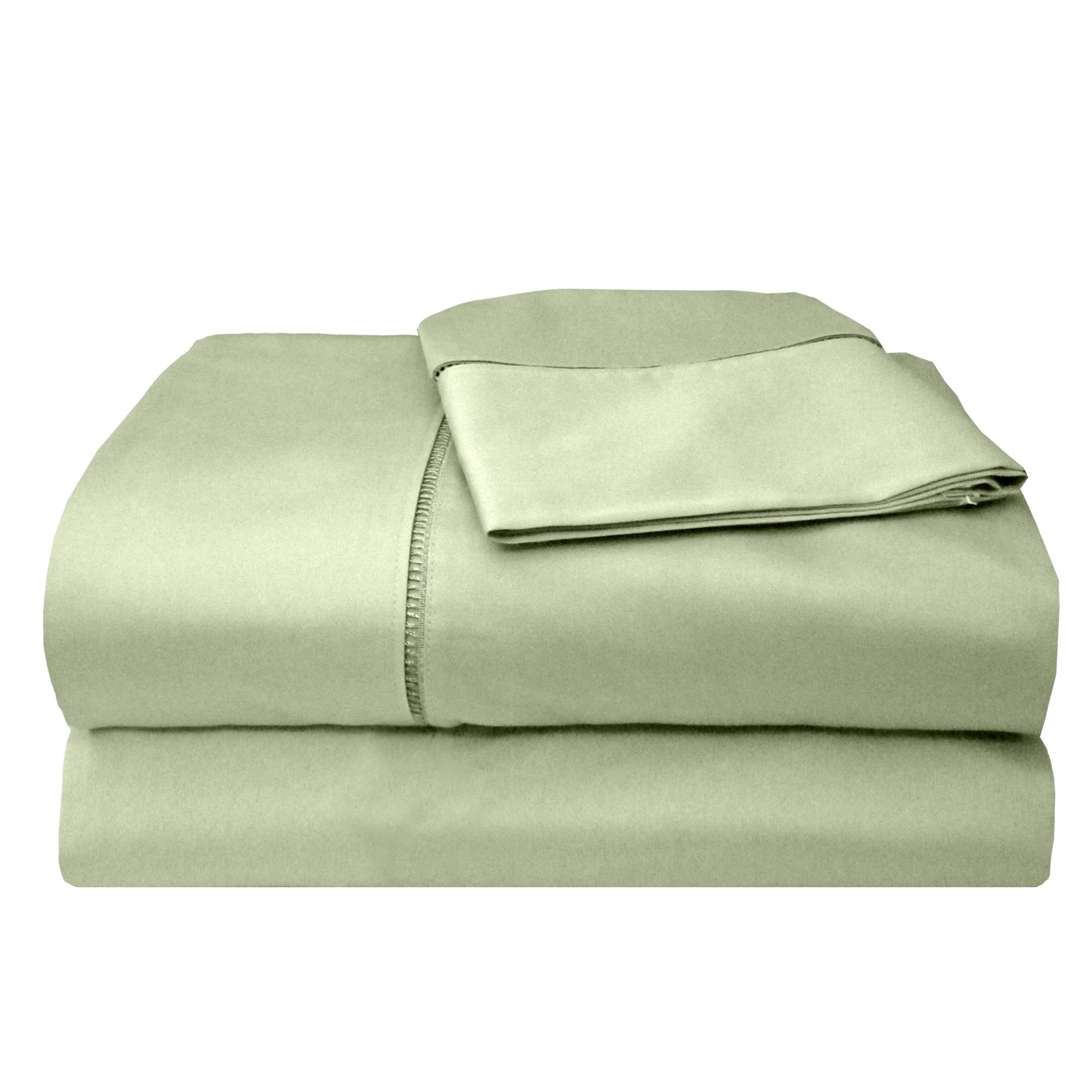 Veratex Legacy Collection 300 Thread Count 100% Egyptian Cotton Sateen Bed Sheet Set With Elegant Stitch Hem Design, California King Size, Sage
