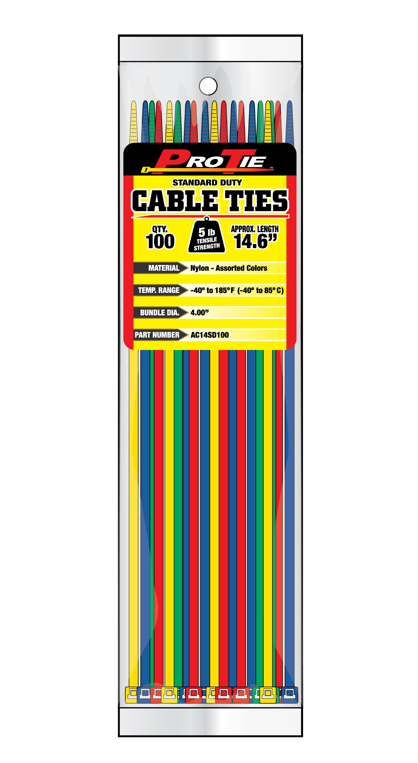 Pro Tie AC14SD100 14.6-Inch Assorted Color Standard Duty Color Cable Tie, Assorted Nylon, 100-Pack