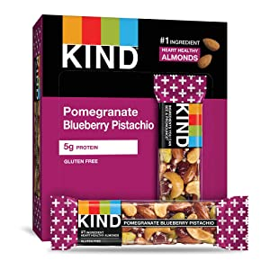 KIND Bars, Pomegranate Blueberry Pistashio + Antioxidants, Gluten Free, Low Sugar, 1.4oz, 12 Count