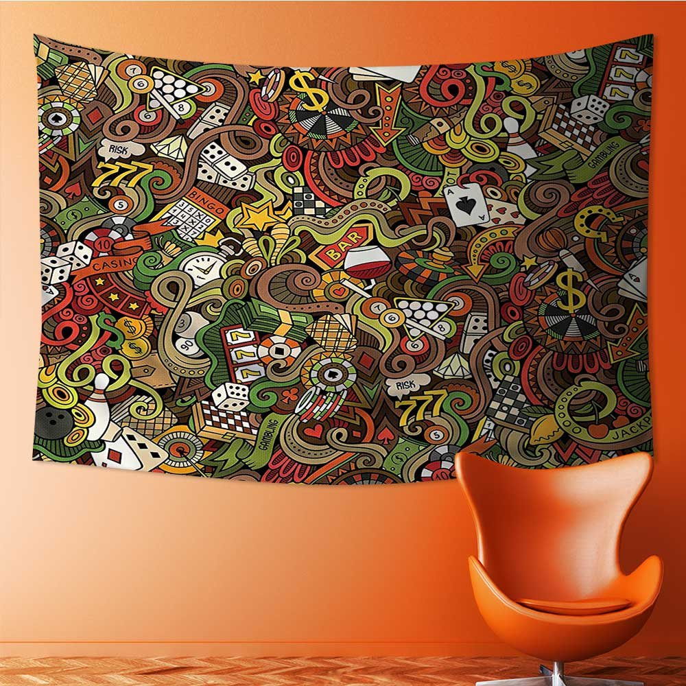 also easy Tapestry Wall Hanging Tapestry Doodles Style Bingo Excitement Checkers King Tambourine Vegas Bathroom Home Room Wall Decor(59W x 51.1L INCH)