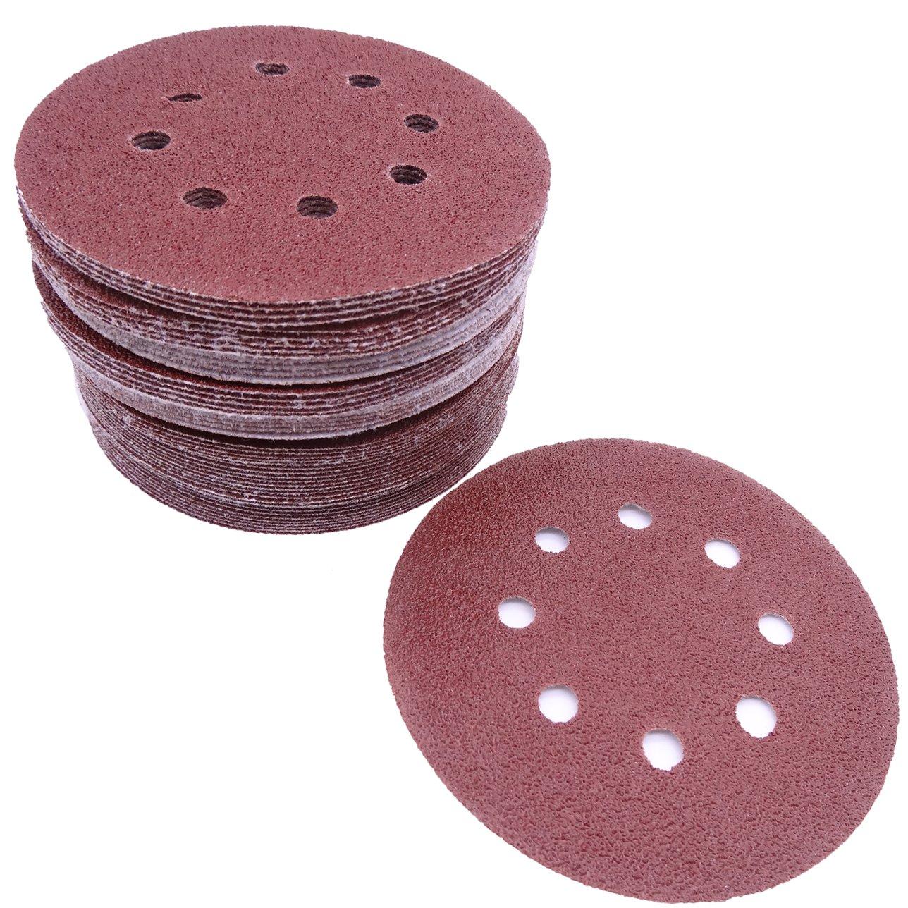 Maveek 60 Pieces 8-Holes Discs Pads 5 Inch/ 125 mm Hook and Loop 40/ 60/ 80/ 120/ 180/ 240 Assorted Grits 6 Models, Each Model 10 Pieces Sandpaper Sanding Discs Pads for Random Orbital Sander