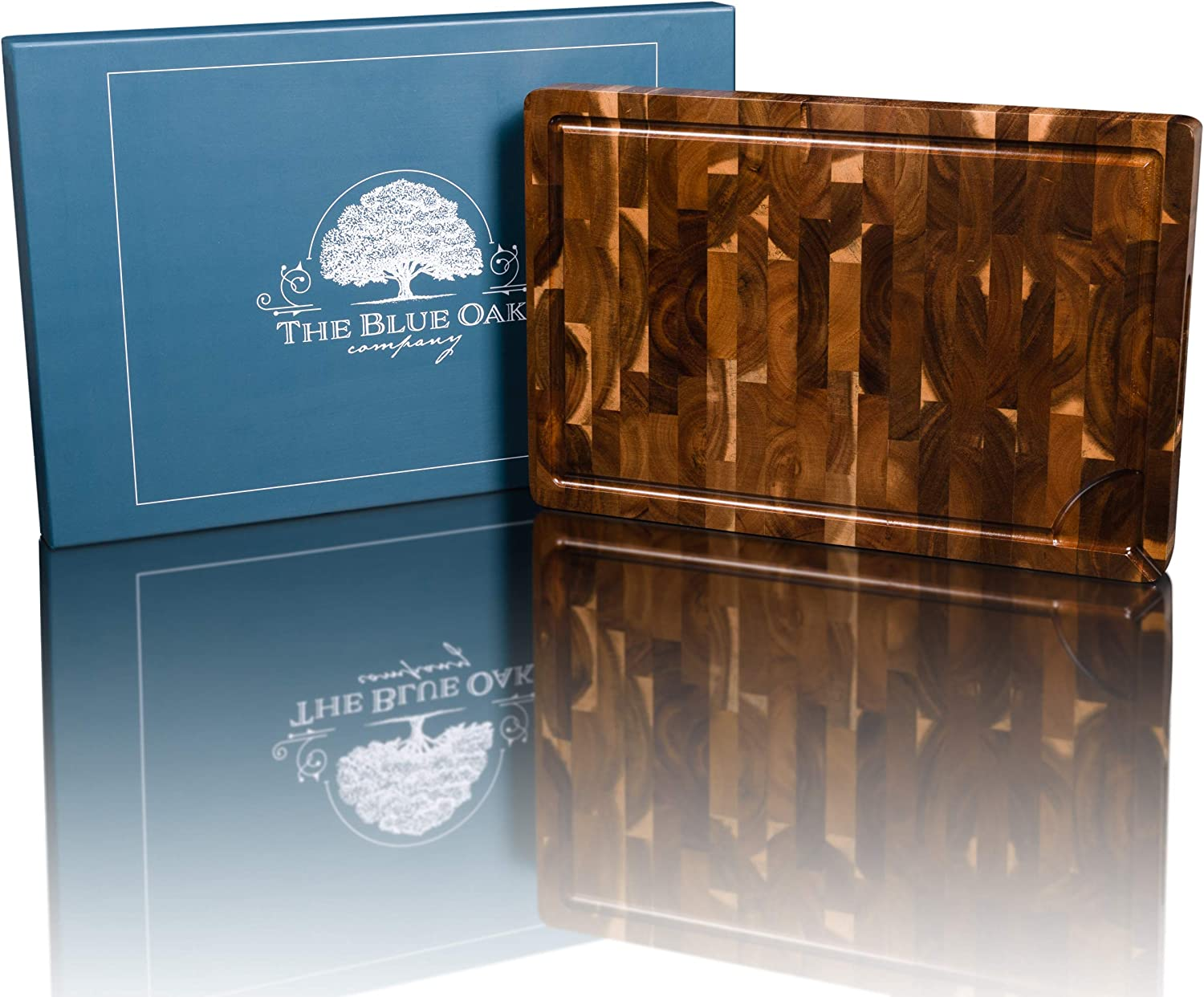 THE BLUE OAK COMPANY Premium Large End Grain Acacia Wood Cutting Board with Juice Groove and Spout | Chopping Board | Charcuterie Board | Cheese Board