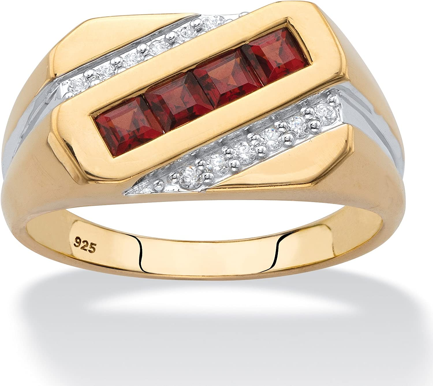 Men's 18K Yellow Gold over Sterling Silver Square Cut Genuine Red Garnet and Diamond Accent Diagonal Ring