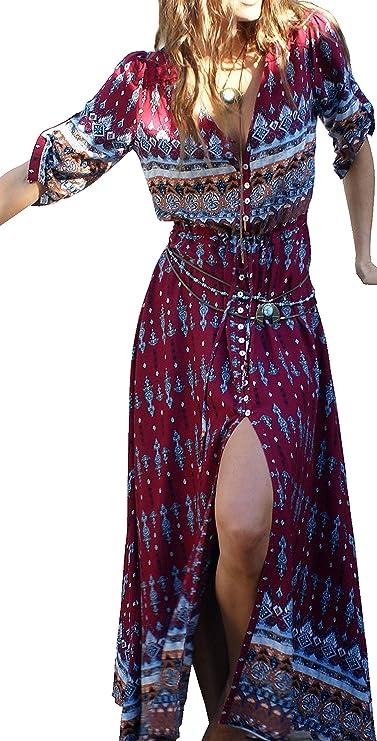 R.Vivimos Women Summer Button up Floral Print Split Beach Maxi Dresses Large Light Green