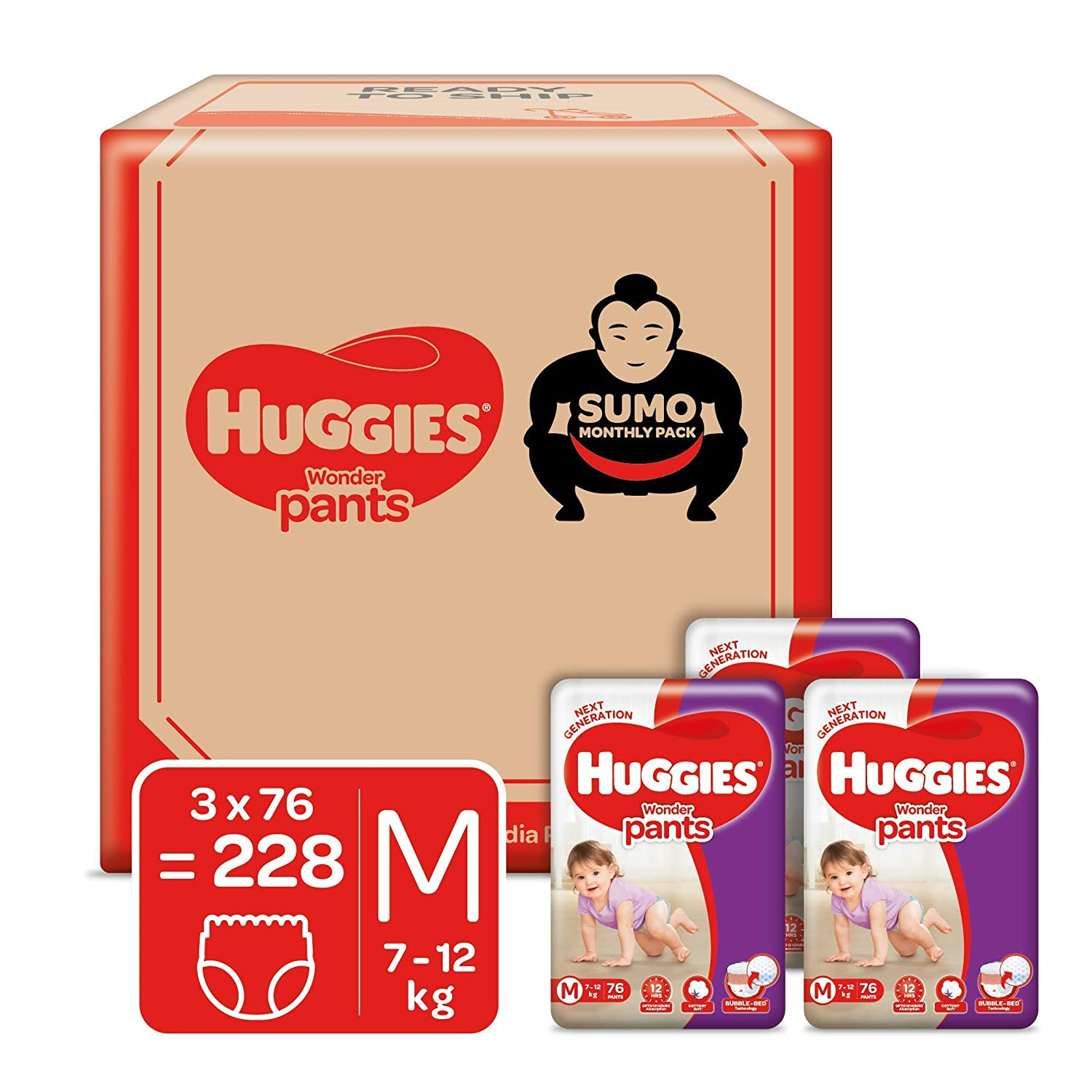 Huggies Wonder Pants, Sumo Monthly Box Pack Diapers, Medium Size, 228 Count