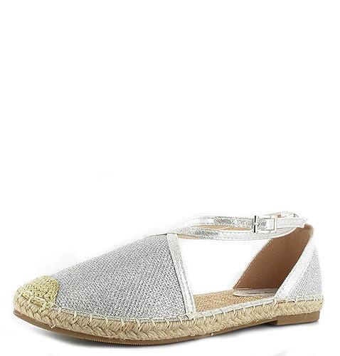 Damen Sommer Strand Sandalen Espadrilles Ankle Strap Flache Sandalen Glitzer