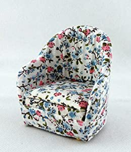 Melody Jane Dolls Houses Miniature Lounge Furniture 1:12 Scale Cosy Chintz Armchair Arm Chair