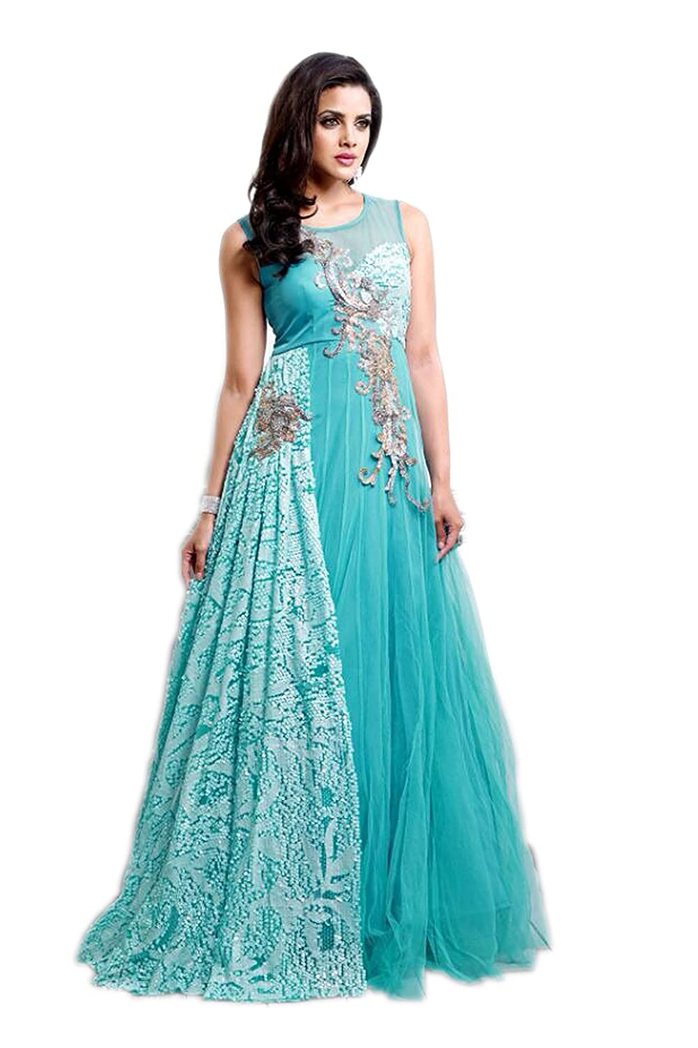 Amazia Style Anarkali Dress - Designer Blue: Amazon.in: Clothing ...