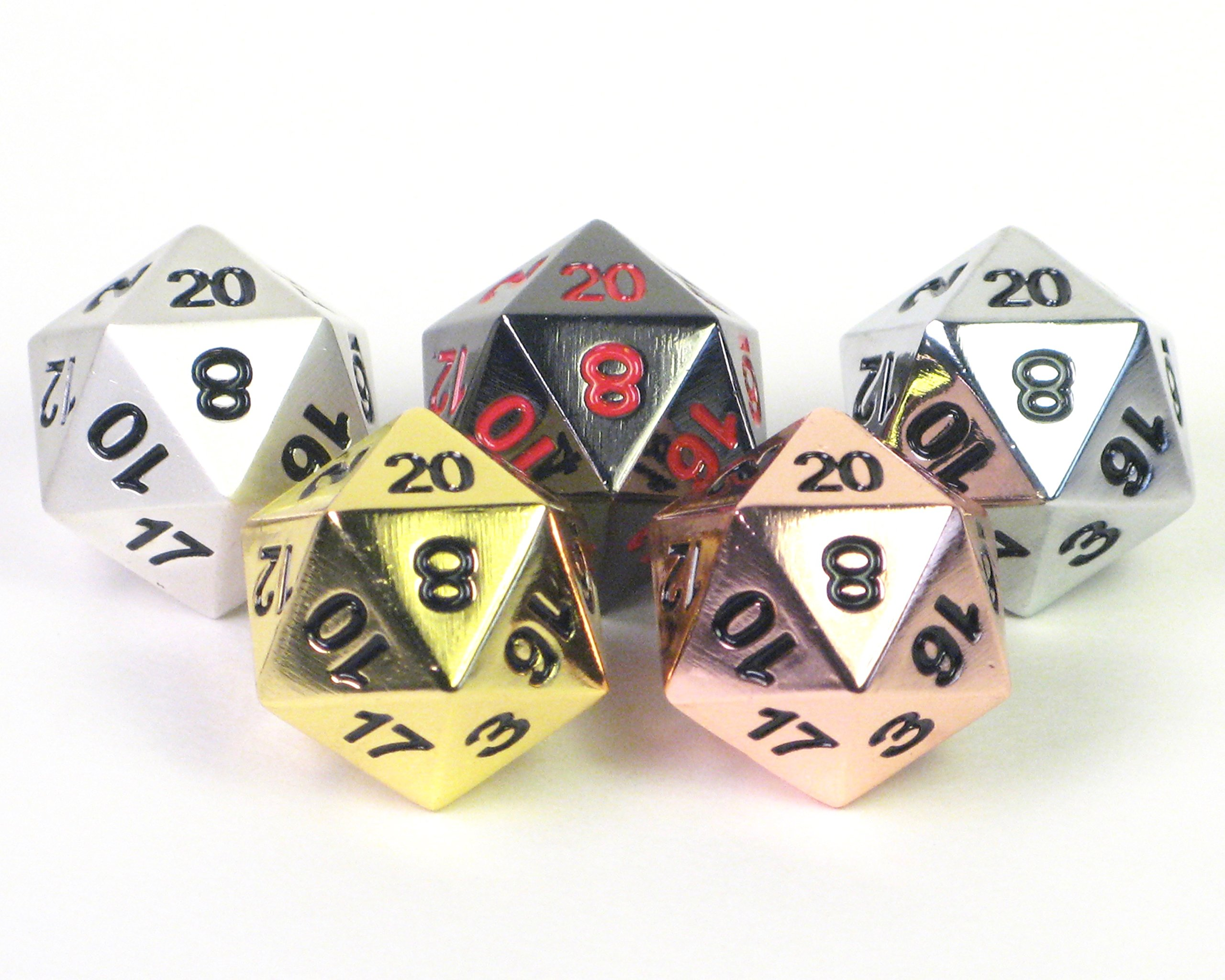Ultimate! Solid Metal D20 Variety 5 Pack - Gold, Silver, Copper, Obsidian, Pearl - Polyhedral Twenty-Sided Dice Set