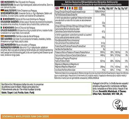 Sevenhills Wholefoods Semillas de Chia Crudo 2kg: Amazon.es: Salud y cuidado personal
