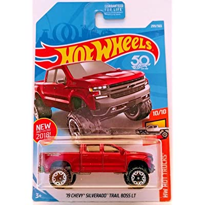 Hot Wheels Mattel 2020 Hw Hot Truck - '19 Chevy Silverado Trail Boss LT (Red) 299/365: Toys & Games