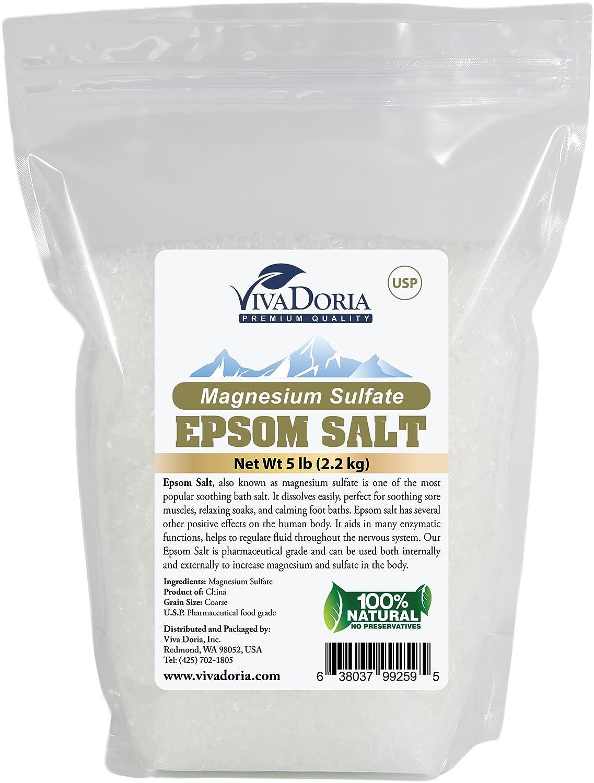 Viva Doria Epsom Salt Magnesium Sulfate Bath Salt Coarse Grain (3-4 MM) (10 lbs) VIVADORIA