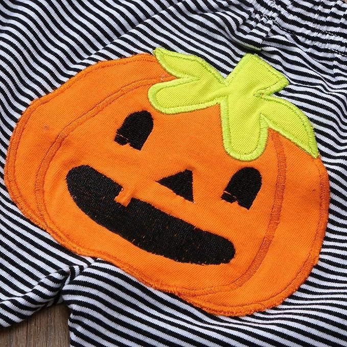 Bestow Boy Baby Girl Long Sleeve Halloween Letter Pumpkin Stripe Hare Pants Hat Set Všªspera de Todos los Santos: Amazon.es: Ropa y accesorios