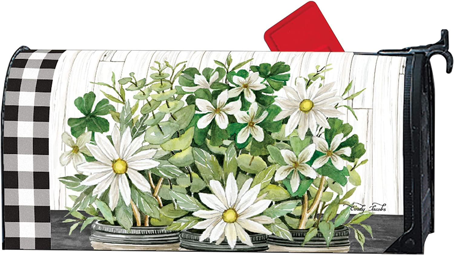 MailWraps Studio M Farmhouse Daisies Decorative, The Original Magnetic Mailbox Cover, Made in USA, Superior Weather Durability, Standard Size fits 6.5W x 19L Inch Mailbox