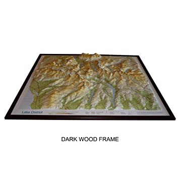 Raised Relief Map of the Lake District 32 x 29 with free 3D