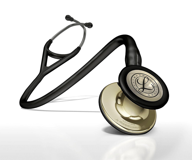 3M Littmann Cardiology IV Diagnostic Stethoscope, Champagne-Finish  Chestpiece, Black Tube, Smoke Stem and Headset, 27 inch, 6179