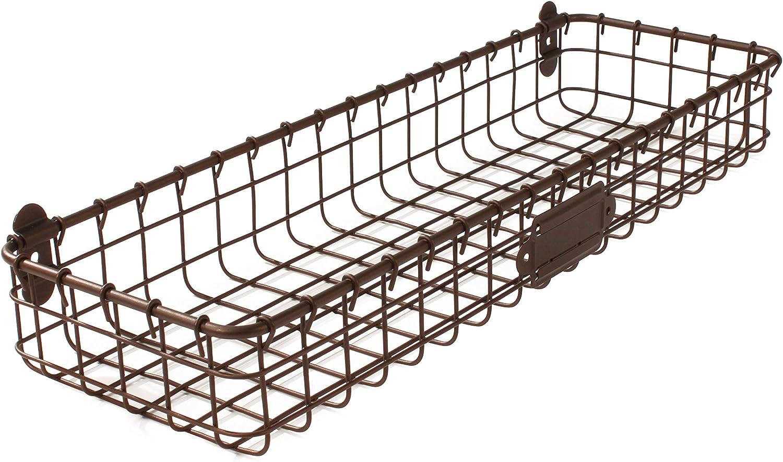 Spectrum Diversified Vintage Mount Tray, Slim Wall Basket Customizable Label Plate, Rustic Farmhouse Décor, Sturdy Steel Wire Storage Shelf, Bronze