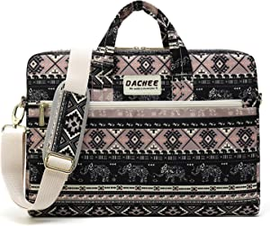 DACHEE Khaki Elephant Pattern 15 inch Canvas Waterproof Laptop Shoulder Messenger Bag for 15.6 inch Laptop 15 Laptop Case
