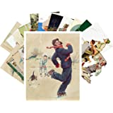 Carte Postale 24pcs Norman Rockwell Vintage Illustration Boys and Day Life and Fishing