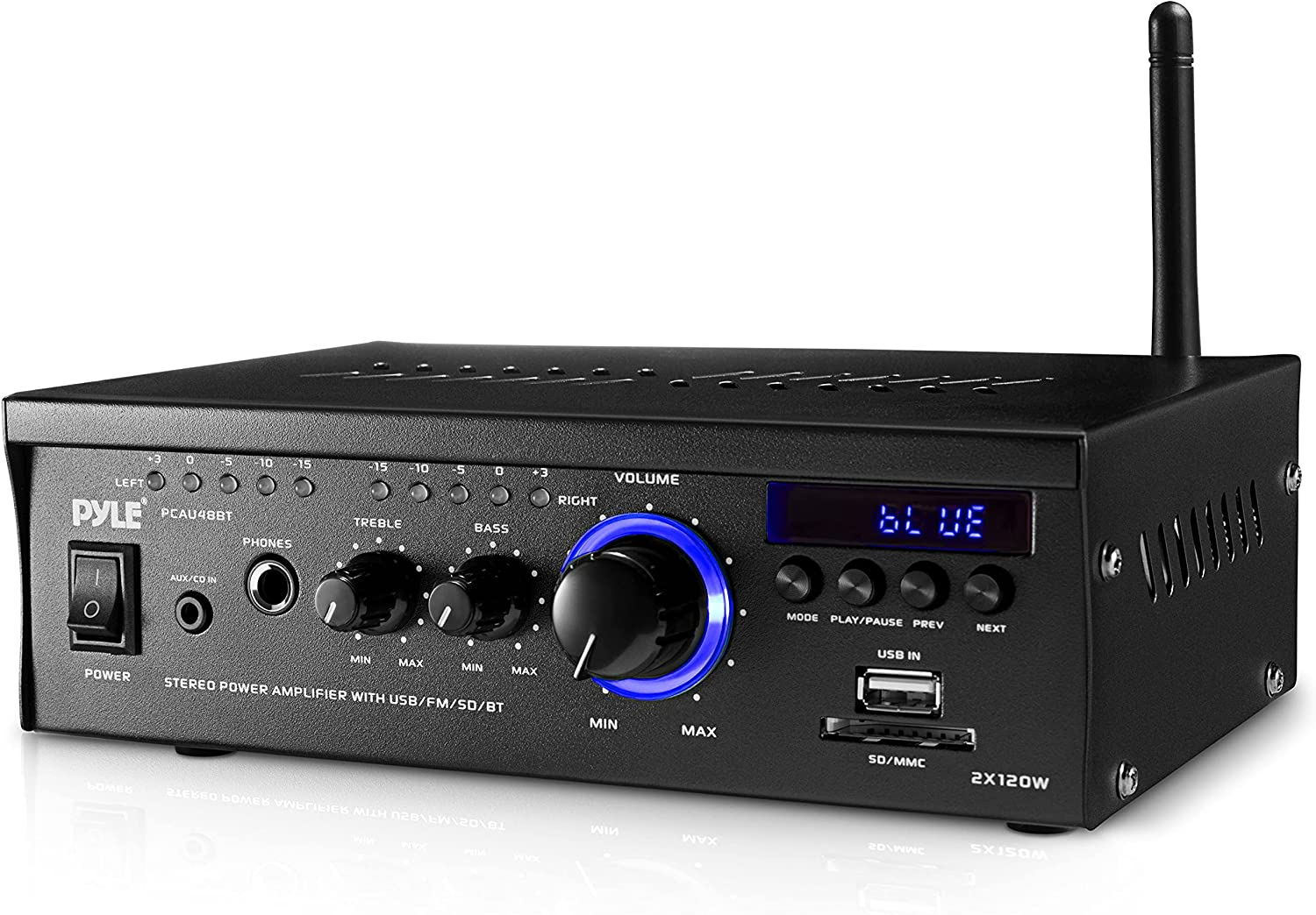 Bluetooth Mini Stereo Power Amplifier - 2x120W Dual Channel Sound Audio Receiver Entertainment w/Remote, for Amplified Speakers, CD DVD, MP3, Theater via 3.5mm RCA Input, Studio Use - Pyle PCAU48BT.5