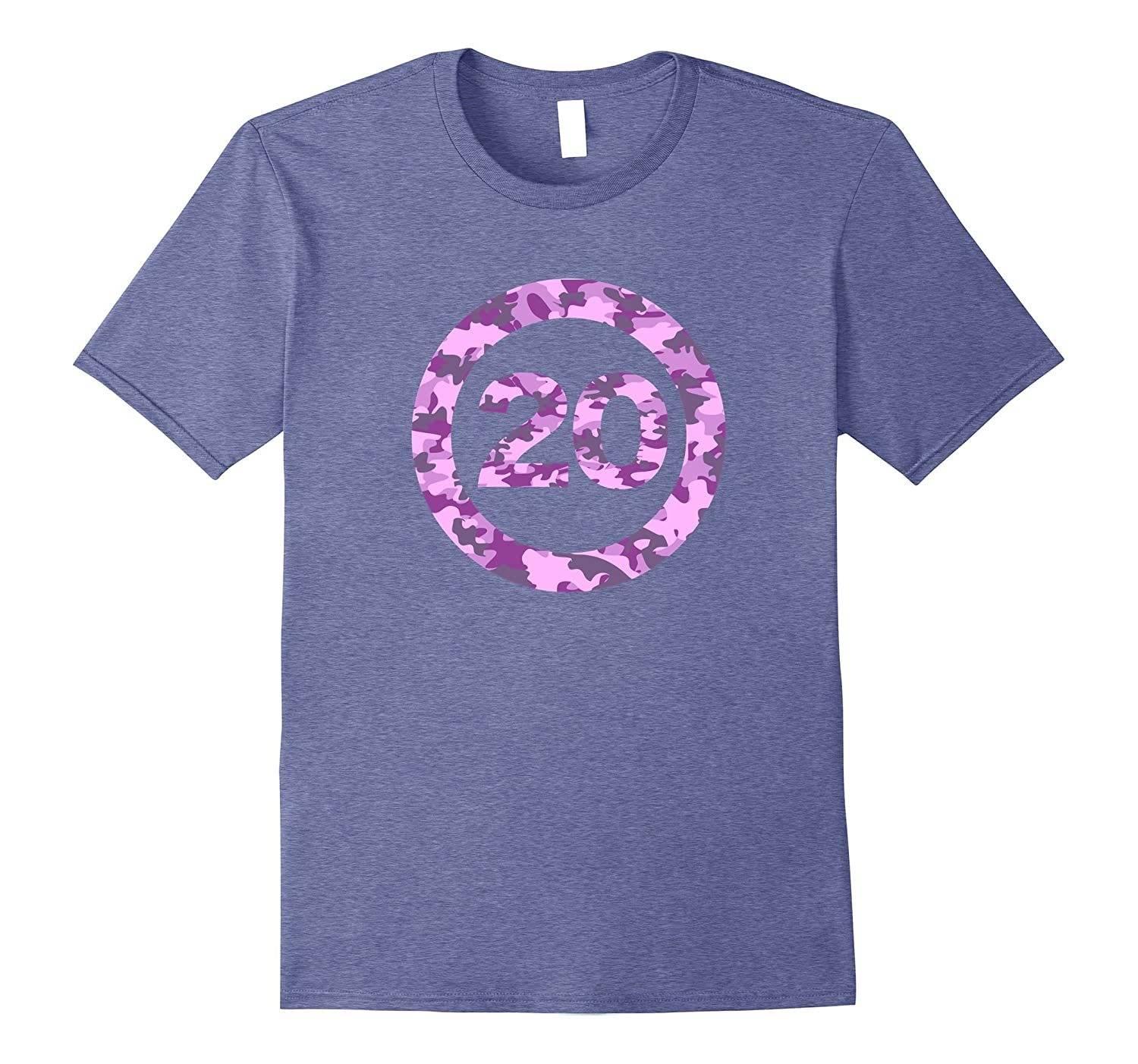 Birthday 20 in pink camouflage circle t-shirt-PL