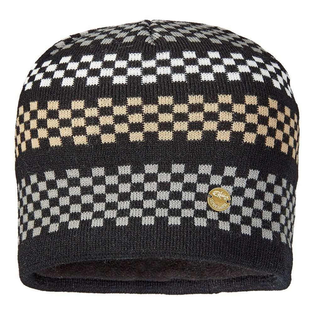 Screamer Hats Checkerboardビーニーメンズ One Size Black/Stainless/Latte B01JB6PIB4