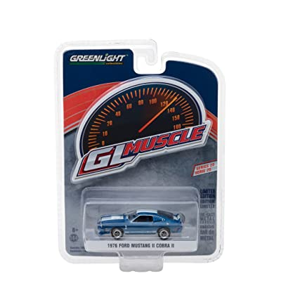 1976 Ford Mustang II Cobra II Blue with White Stripes Greenlight Muscle Series 20 1/64 Diecast Model Car by Greenlight 13210 E: Toys & Games